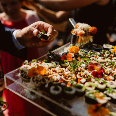 Eye catching colourful canapes were served to wedding guests at this drinks reception in Norfolk